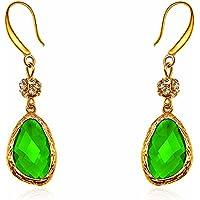 Bling Jewelry-Orecchini da sposa, zirconia cubica pavé, perla simulata-Orecchini a goccia con elementi in cristallo