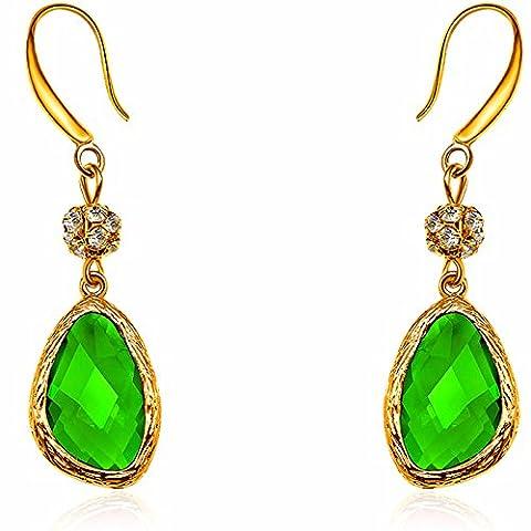 Bling Jewelry CZ pavé imitation perle mariée–Boucles d'Oreilles Pendantes Femme–Fabriqué avec éléments en cristal - Orecchini In Oro Perle Vermeil