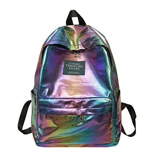 DOFENG Damen Wasserdicht Volltonfarbe PU Leder Freizeit Rucksack Umhängetasche Daypack Schultaschen Reiserucksack Tagesrucksack Handtaschen für Schule Reise Arbeit (violett, Eine Größe)