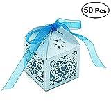 UEETEK 50 Stück Geschenkboxen,Herz Muster Pralinenschachtel für Hochzeit/Geburtstag,Braut Dusche Party,Blau