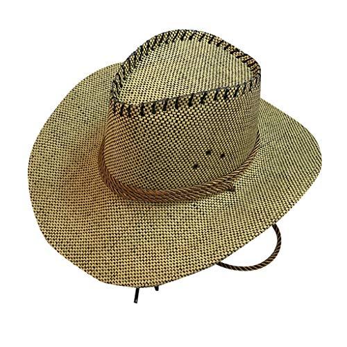 CANDLLY Hut Damen, Kopfbedeckung Zubehör Kopfschmuck Mode Mode Unisex Western Cowboy Hut für Gentleman Sombrero Breiter Krempe(B,One size