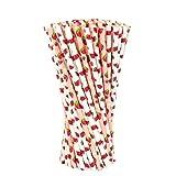 VABNEER Papier Trinkhalm Biologisch Papier Stroh Papierstrohhalme Bunte Trinkhalme aus Papier Für Säfte, Smoothies, Party Favor Supplies, Hochzeitsdekoration (100 Stück,Obst-Serie)