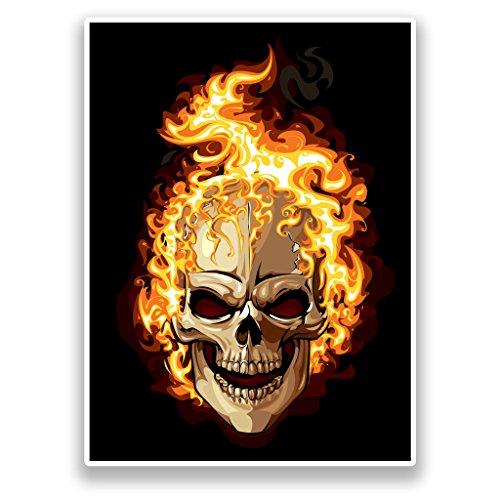 2x Pegatinas de vinilo de calavera en llamas Horror Scary #...