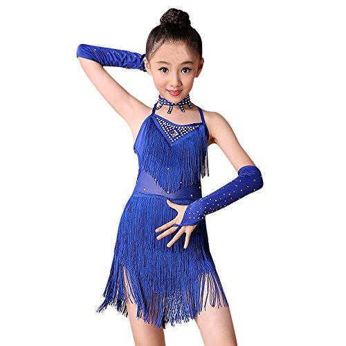 Sllowwa Mädchen Latin Kleid Troddel Tanzkleid mit Leggings Halskette Ärmel Set Kinder Tanzkostüm Performance Kleidung für Lateinisches Salsa Tango(Blau,150)