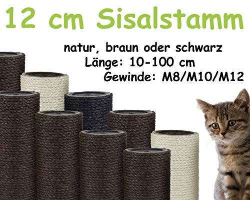 kratzbaumland 12 cm Sisalstamm, Ersatzstamm für Kratzbaum: Länge: 59 cm, Gewinde - 10 mm (M10), Farbe des Sisalseils - braun -