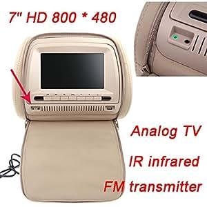"2pcs 7""800X480 LCD Car DVD Headrest Monitor Player Analog TV 32 Bits Games IR Infrade FM Transmitter MP3 USB SD Remote Control"