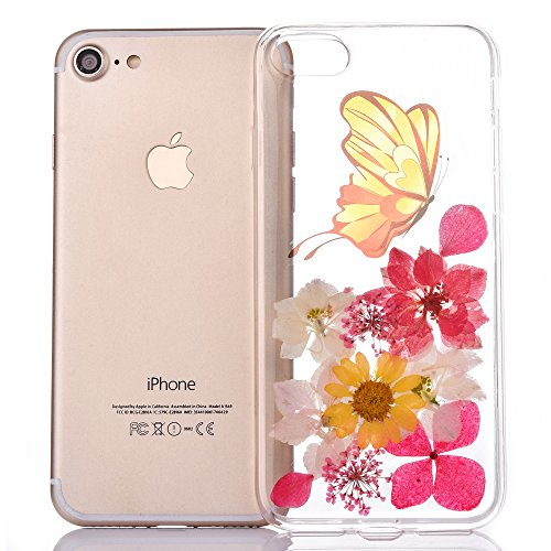 "iPhone 5s Handyhülle, CLTPY iPhone SE Transparent Klare 3D Motiv Fall, [Ultra Hybrid] Echte Getrocknete Blumen Series Etui, Dünne Stoßfest Gummi Case für 4.0"" Apple iPhone 5/5s/SE + 1 Stylus - Floral  Floral 2"