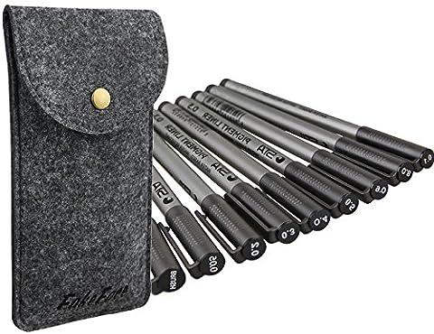 9 Pack Cap-Off Waterproof Fineliner with Wallet Bag Assorted Line