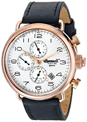 Ingersoll Quartz Balfour Men's Quartz Watch with Silver Dial Chronograph Display and Black Leather Strap INQ009SLRS