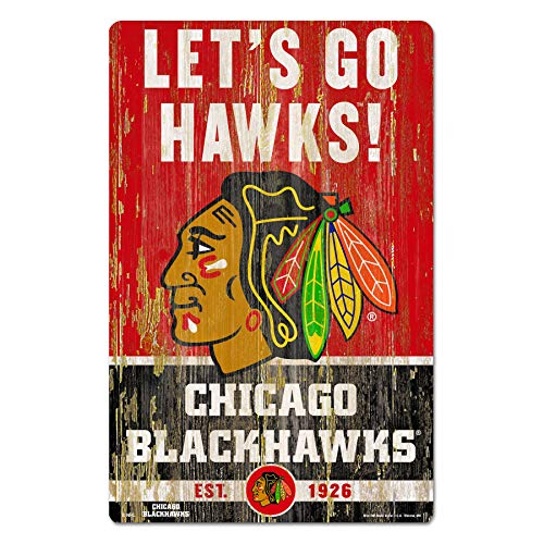 Nhl Poster Shop (Wincraft NHL Chicago Blackhawks Wood Sign Holzschild Slogan 43x28cm)