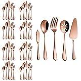 Magicpro, set di posate in acciaio inox color oro rosa, 45 pezzi, per matrimoni, feste, Natale, servizio per 8 persone