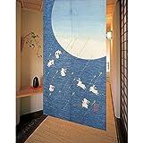 Noren Vorhang (traditioneller japanischer Vorhang) mit 7 Kaninchen unter dem Mond für gute Omen, 85x 150cm, mit Silberfaden, blau, 11941,aus Japan