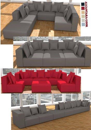 ::: MODELL HOLLYWOOD: DESIGNER WOHNLANDSCHAFT: 6 LUXUSTEILE + 14 KISSEN NEU! in 6 Farben ALCANTARA LOOK zur Auswahl  KOSTENLOSER VERSAND in AT & DE !  BERATUNG: Tel: 0043(1)715-16-16, (Mo. bis Fr. 9.30 bis 15 Uhr) oder E-Mail: office.at@vienna-international-furniture.com :::