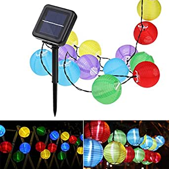 lampion solar string leuchten yunlights 30 led wasserdicht solarenergie drau en leuchten. Black Bedroom Furniture Sets. Home Design Ideas