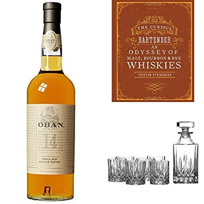 Bundle: Oban 14 Year Old Whisky 70cl, The Curious Bartender: An Odyssey of Malt, Bourbon & Rye Whiskies and Royal Doulton Crystal Decanter Seasons Set of 7