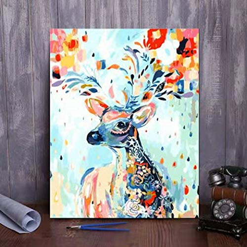 zlhcich Dynamische Malerei Landschaft Ölgemälde GX968 gemalt Hirsch 80 * 100cm Rahmenlos
