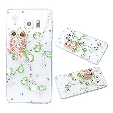 Evtech (tm) Effacer Cover Owl Couleur Verte Diamond cristal strass Bling floral rose Snap-on pour Samsung Galaxy S6 Edge plus S6 Edge +