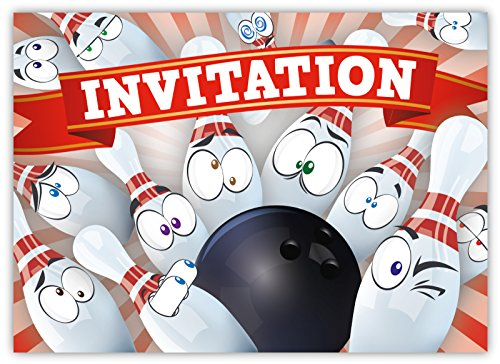 funny-invitation-cards-pack-of-12-for-boys-girls-kids-birthday-bowling-party-with-smiley-emoji-postc