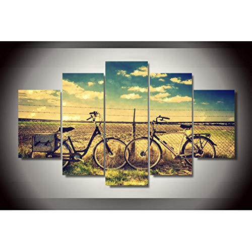 Chuixiaoxiao1 Leinwand malerei von 5 Panel stücke HD Gedruckt Feld Retro Bike Malerei Leinwanddruck raumdekor Poster drucken Bild leinwand wandkunst