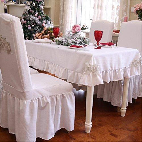 Ethomes Lin Naturel Tissu froncé Nappe pour fête de mariage Décoration de la Maison, Autre, blanc, 59x91 inch(150x230cm)