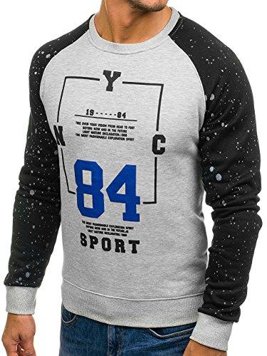 BOLF Herren Sweatshirt mit Rundhalsausschnitt Langarmashirt Pulli Rundhals Print Motiv J.STYLE DD07 Grau XXL [1A1] |