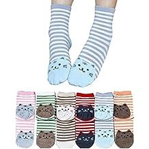 auxma 6 Par Calcetines De Dibujos De Animales 3D rayas mujeres gato Huellas Calcetines de algodón