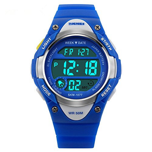 ALPS bambini guardano multi funzione Digital LED Water Resistant Sport Watch (Blu)