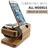 Apple Watch Stand, Aerb Bamboo Wood Charging Stand Docking Station Stock Cradle Holder for iPhone
