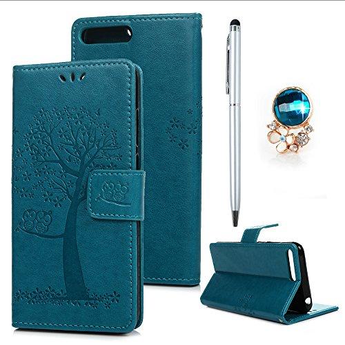 Huawei Y6 2018 Hülle Tasche Case Leder Ultra Slim Eule Baum Schutzhülle Bookstyle Ständer Kartensätze Magnetisch Handytasche Wallet Schale Klappbar Etui Handycase Bumper Blau