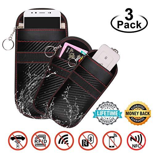 2pcs Estuche Bloqueador de Señal de Llave para Coche + 1pcs Bolsa de Bloqueo de Señal Saludable Teléfono Celular, Faraday Bolsa Llave Bag, WiFi/gsm/LTE/NFC/RF Blocke