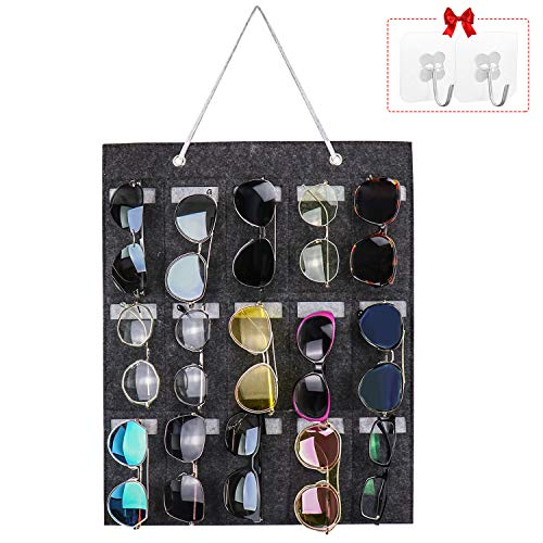 Yotako Hängende Sonnenbrillen-Organizer Wandhalterung, 15 Schlitze für Brillen, Aufbewahrung, Wand an Tür oder Wand mit 2 transparenten Haken (grau)
