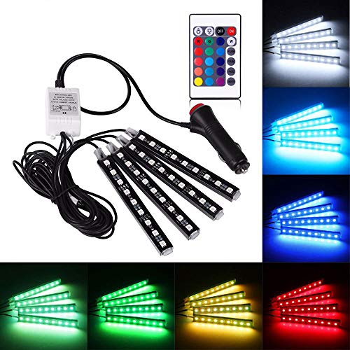 12V Car-styling Interior Atmosphere Light Strip Decorative Light Colorful Cars Charge Daytime Running Lamp Remote Control
