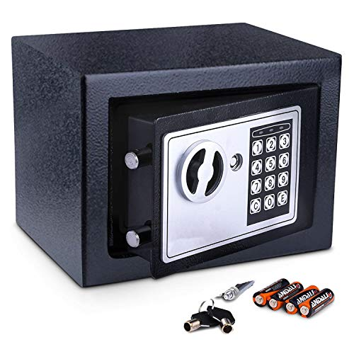 Meykey Small Safe Safe 230X170X170 mm, schwarz