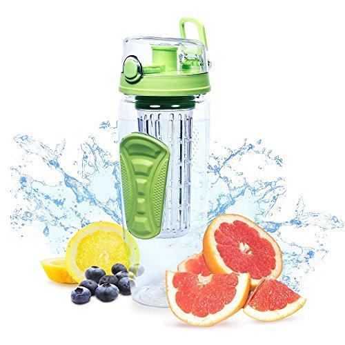 Frutta infusore bottiglia di acqua Grande 32 once - Best BPA -Free bottiglia Sports - Flip Top Lid W potabile becco , Leak Proof , realizzata in resistente Tritan .