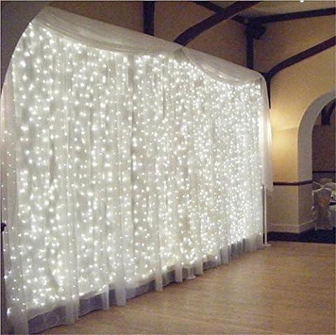 Laterne String LED Vorhang Licht 6 * 3 m LED blinkende String Lichter mit Anker Hintergrund dekorative Lichter , Weiß