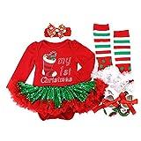 BabyPreg Baby Mädchen Mein erstes Weihnachten Sankt Kostüm-Partei-Kleid 4PCS (S/ 3-6 Monate, Grüne Socke)