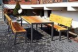 Gartengarnitur aus Massivholz und Metall | Sitzplätze: ca. 4 Personen | Tisch und 2 Bänke