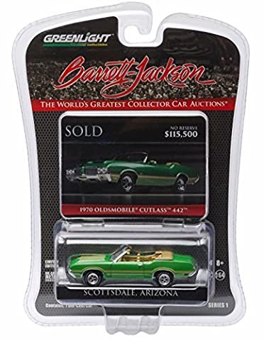 1970 OLDSMOBILE CUTLASS 442 (Jade Green) * Scottsdale Edition * Barrett-Jackson Series 1 Greenlight Collectibles 2016 Limited Edition 1:64 Scale Die-Cast Vehicle by GL Muscle