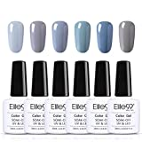 Elite99 Smalto Semipermanente in Gel UV LED, Smalto per Unghie, 6pz Kit Smalti Semipermanenti Soak off, Gel Colori Ricostruzione per Unghie 10ml - Kit 009 Grigio
