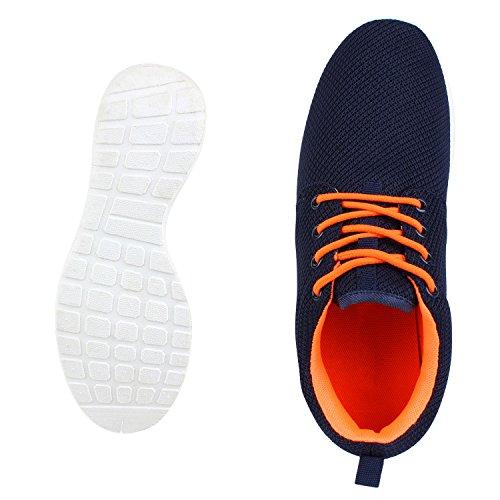 Flache Unisex Damen Herren Laufschuhe Profilsohle Sportschuhe Schnüren Sneakers Freizeitschuhe Dunkelblau Orange