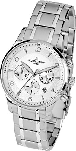 Jacques Lemans Herren-Armbanduhr XL London Chronograph Quarz Edelstahl 1-1654J