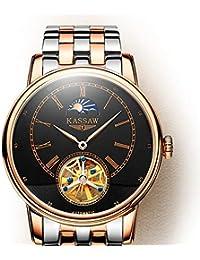 f68520e153f6 REWGFERG Relojes Reloj Genuino para Hombre Reloj mecánico automático Reloj  para Hombres Moda Cinturón Genuino Impermeable