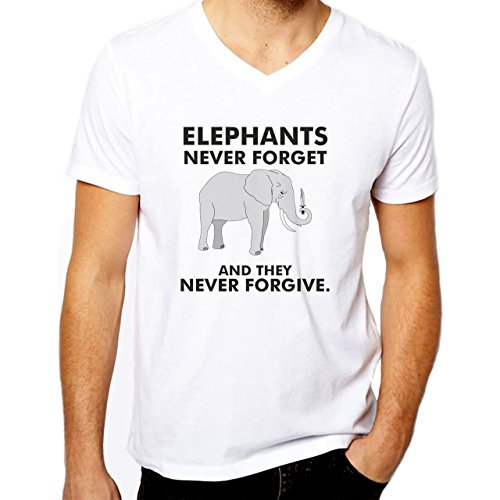 Elephants Never Forget And They Never Forgive XXL Uomini V-Neck T-Shirt