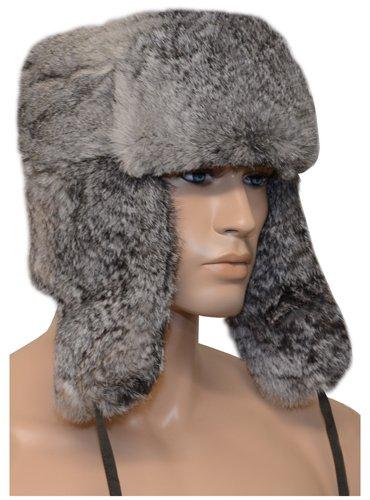 Russian Rabbit Fur Ushanka Cossack Hat in Black, Grey or Brown
