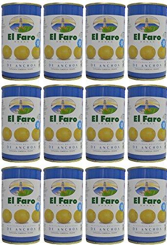 El Faro - Spanischen Oliven mit Sardellen gefüllt 350 gr. Abgetropft Menge 150 gr. - [Pack 12]