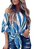 Ehpow Damen Chiffon Bluse Schulterfrei Casual Streifen T-Shirt Bluse Oberteil Top (Large, Blue)