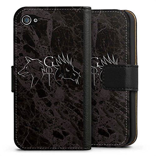 Apple iPhone 6 Silikon Hülle Case Schutzhülle GOT Game of Thrones Drache Wolf Sideflip Tasche schwarz