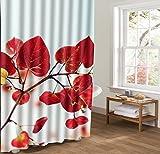 zeng custom Rote Gelbe Blätter 3D Duschvorhang Liner Schimmel Resistent Wasserdicht Bad Vorhang Polyester Pflanze Thema Dusche Vorhänge Oder Liner Stall, 66 x 72 Zoll, Grau Blau