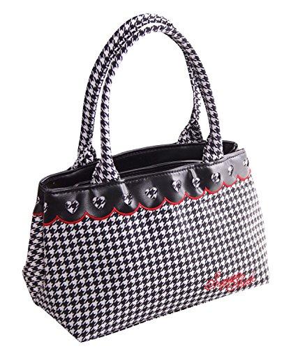 SugarShock Nadette Damen Rockabilly Pepita Handtasche, Farbe:schwarz weiss