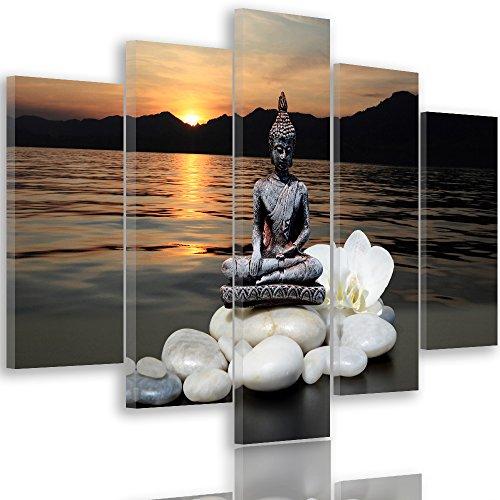 Feeby frames, quadro multipannello di 5 pannelli, quadro su tela, stampa artistica, canvas tipo a, 200x100 cm, buddha, pietre, fiore, orchidea, lago, tramonto, acqua, montagne, grigio, bianco